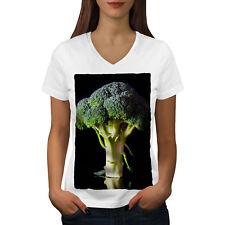 Wellcoda Green Broccoli Womens V-Neck T-shirt, Healthy Graphic Design Tee
