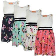 floral niña Mariposa Falda Top De Encaje Vestido infantil Informal verano 3-14