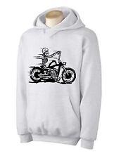 SKELETON RIDER HOODY - Biker Chopper T-Shirt Motorcycle - Choice Of Colours