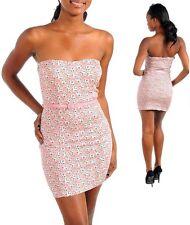 vestito donna mini abito corto fiori pink c/cinturino tg s,m,l