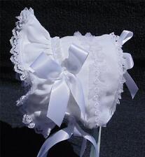 New Handmade White Linen with Flowers Baby Bonnet