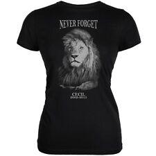 Cecil The Lion Never Forget Black Juniors Soft T-Shirt