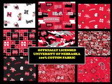 UNIVERSITY OF NEBRASKA COTTON FABRIC-NEBRASKA CORNHUSKERS FABRIC-ALL PATTERNS