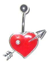 5 ° livello TITANIUM-Red Heart & arrow PIERCING OMBELICO-scegliere: 6mm 8mm 10mm 12mm da 14 mm