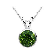0.25 Karat grüner Solitär Diamantanhänger, 750/18K Weiß-, Rose-, od. Gelbgold