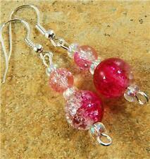 Pink Crackle Bead Dangle Earrings - 365 - FREE UK POST!