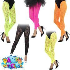 a86b3c139a1c0 Adults Ladies 1980s Lace Leggings Neon Madonna Fancy Dress Costume Accessory