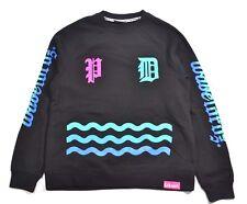 Pink Dolphin WAVE LORDZ II Black Aqua Blue Pink Pullover Crew Men's Sweatshirt