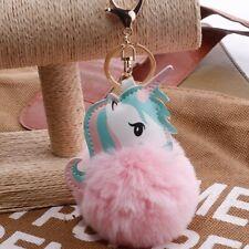 Keychain Cute Car Key Holder Pompom Keyring Pompon Fur Ball Unicorn Key Chain