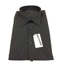XACUS camicia uomo nero riga bianco vestibilità slim 65% cotone 30% poliammide
