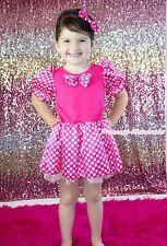 Halloween Hot Pink White Minnie Dot Bow Princess Dress Baby Girl Costume 6M-8Y
