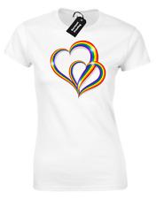 2 PRIDE HEARTS LADIES T-SHIRT GAY LESBIAN LGBT UNISEX RAINBOW WOMENS TOP ( COL)