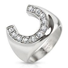 316L Stainless Steel 1.1 Carat CZ Horseshoe Men's Ring Size 9-13