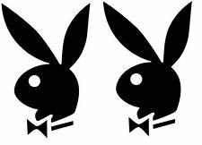 "2X Playboy Bunny Logo New Car Window Vinyl Decal Sticker 3"" - Pick a Color"