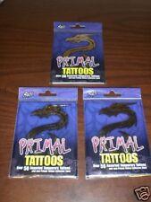 3pks Primal Temporary Tattoos Over 50 Animal Tats/Pk