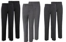 2 PACK Boys School Trousers VISCOSE Full Length Smart Casual Charcoal Black Grey