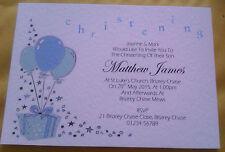 5 personalised Christening Baptism Naming Invitations blue pink lilac green blns