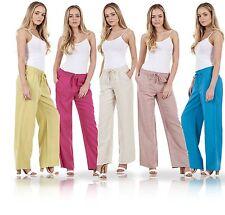 Señoras Pantalones De Lino Informal Vacaciones Cintura Elástica Pantalones de Verano para Mujer