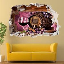 Uvas Rojo Wine Barrel Pared Adhesivo Calcomanía Mural Habitación Arte 3D TV9 decoración de oficina
