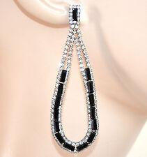 ORECCHINI NERI strass cristalli donna pendenti goccia ovali eleganti boucles F5
