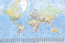 Landkarten - Weltkarte mit Flaggen deutsch - Poster Druck 1:45 Mio., 61x91,5 cm