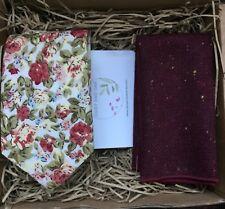 Pink Floral Necktie, Burgundy Maroon Pocket Square, Floral Ties, Men's Ties, UK