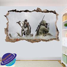 Hunt Deer Hunter NATURA 3D Adesivo Parete rotte ART Room Decor Decalcomania Murale ZS7