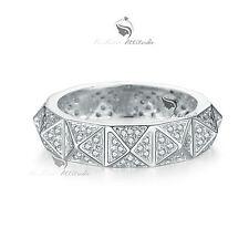 18K White Gold GF women's wedding band dress Simulated Diamond ring
