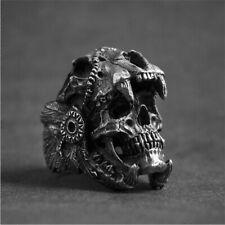Stainless Steel Cool Men's Gothic Punk Skull Ring Head Boy Biker Finger Jewelry