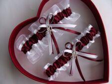 NEW Burgundy White Wedding Garter SELECT Single,Set,Reg,Plus Size,Charm
