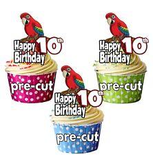 PRECUT Parrot 12 Taza Cake Toppers Decoraciones de Fiesta de Cumpleaños Cualquier Edad 1 a 115