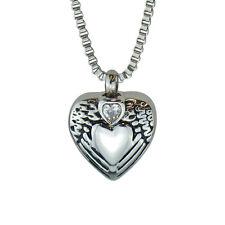 Ailes d'ange cristal collier pendentif coeur Urne Cendre Mémorial cremation-engraving