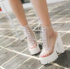 New Womens Platform Super High Block Heel Clear Transparent Ankle Boots Rainboot