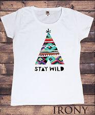 T-Shirt da donna Indiano Nativo Tenda canadese Motivo Restare wild Aztec Gadget
