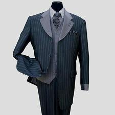 Men's 3 Piece Classic Gangster Pinstripe Wool Feel Suit w/ Vest 2911 Navy