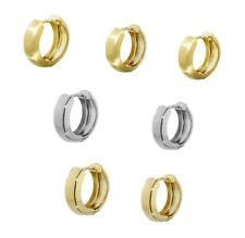 Single 333er Gelbgold oder Weißgold Klappcreolen Ohrringen Rund Damen Herren