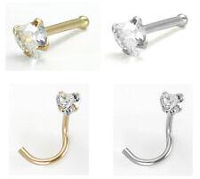 14kt Solid Gold Nose Ring w/CZ Gem Heart 20g 20 gauge stud screw bone white