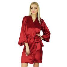 Bimba Women Getting Ready Bridesmaid Robes Red Satin Short Robe