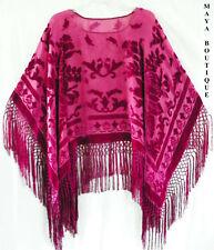 Silk Burnout Velvet Poncho Top Fringe Shawl Maya Matazaro MAGENTA