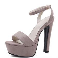 Sandals Heel Plateau 14 cm Grey Leather Synthetic Elegant 9165