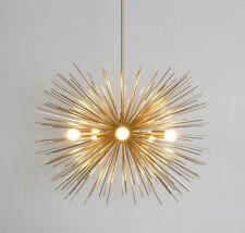 Jahrhundertmitte modern Messing Bengel Kronleuchter 5 Birnen Sputnik Deckenlampe