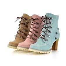 Women High Block Heel Lace Up Boots Casual Rivet Suede Combat Punk Military Shoe