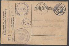 Reich 1915 cens Prisoner of War PC to Gravelines