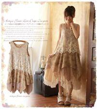 Fashion Japanese Lolita Retro Mori Girl Style Sleeveless Embroidery Lace Dress