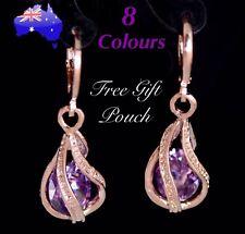 Rose Gold Crystal Water Drop Teardrop Dangle Pierced Pair Earrings Women's Gift