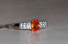 10K Yellow Gold Orange Spessartite Garnet Oval & W Zircon Ring, 1.37(TCW)