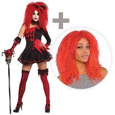 Halloween Jesterina Evil Sexy Harlequin Clown Costume Fancy Dress FREE Red Wig