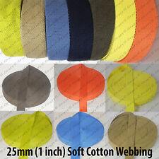 25mm Cotton Webbing Belting Fabric Strap Bag Making Soft thick Tape Ribbon Strap