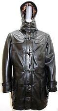 New Safari Parka Mens 3/4 Long Real Leather Black Hooded Duffle Jacket Coat