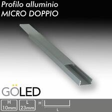 KIT Profilo alluminio DOPPIO per barra o strip LED 2mt  accoglie 2 Strisce LED